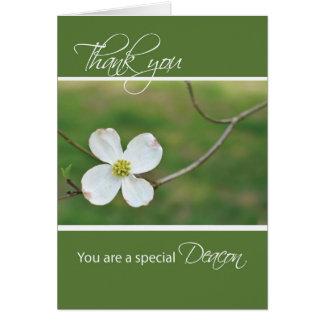 Cartão Obrigado do diácono você flor do Dogwood