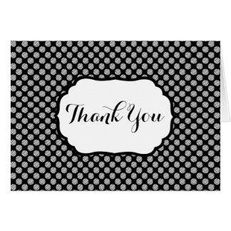 Cartão Obrigado do ♥ do teste padrão das bolas do fio