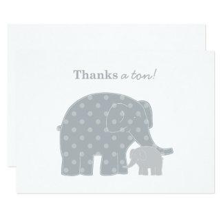 Cartão Obrigado do elefante você prata e cinzas lisas das