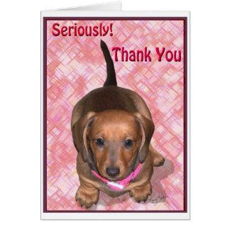 Cartão Obrigado do filhote de cachorro pequeno do