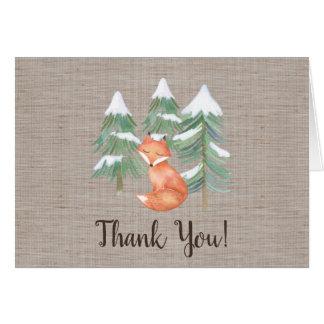 Cartão Obrigado do Fox da floresta do inverno você