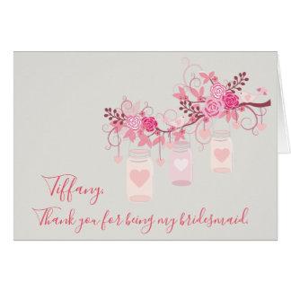 Cartão Obrigado do frasco de pedreiro seu para ser minha