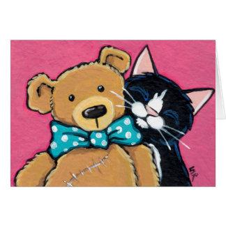 Cartão Obrigado do gato do smoking e do urso de ursinho