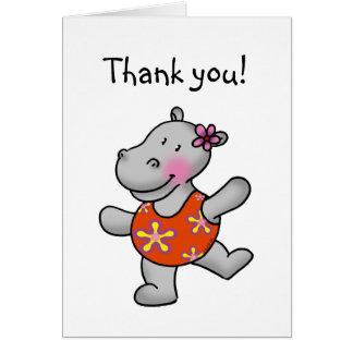 Cartão Obrigado do hipopótamo da dança você