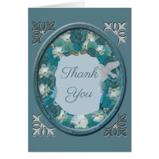 Cartão Obrigado do horizonte dos azuis de Smalt você