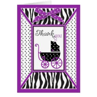Cartão Obrigado do impressão da zebra & da carruagem de