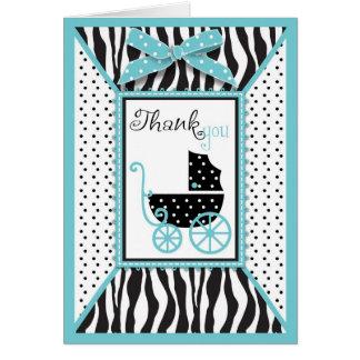 Cartão Obrigado do impressão da zebra e da carruagem de