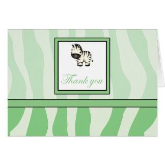 Cartão Obrigado do impressão da zebra você - verde