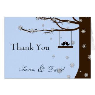 Cartão Obrigado do inverno do carvalho dos flocos de neve