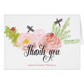 Cartão Obrigado do jardim da aguarela dos rosas das