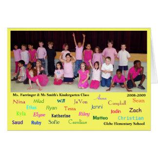 Cartão Obrigado do jardim de infância você - professores