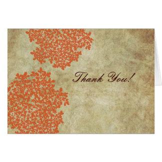 Cartão Obrigado do laço da rainha Ann alaranjada do
