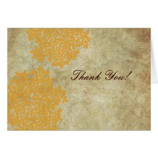 Cartão Obrigado do laço da rainha Ann amarela do vintage