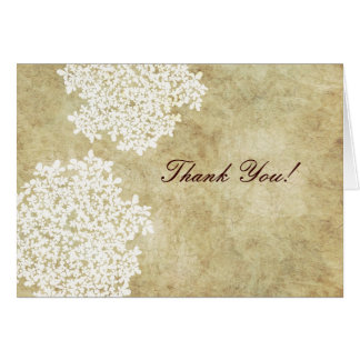 Cartão Obrigado do laço da rainha Ann branca do vintage