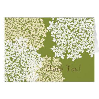 Cartão Obrigado do laço da rainha Anne verde & branco