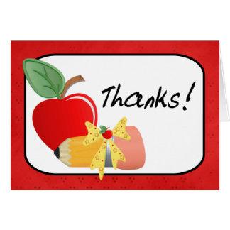 Cartão Obrigado do lápis & do professor de Apple você