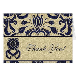 Cartão Obrigado do logotipo do negócio você índigo roda