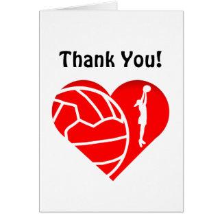 Cartão Obrigado do Netball da silhueta do coração do amor