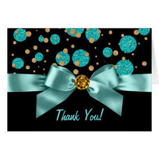 Cartão Obrigado do ouro do preto azul da cerceta você