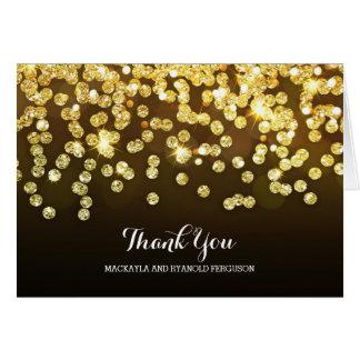 Cartão Obrigado do ouro e do casamento de carvões você