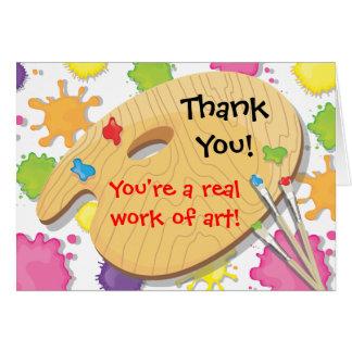Cartão Obrigado do partido da pintura da arte você notas