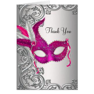 Cartão Obrigado do partido do mascarada do rosa quente