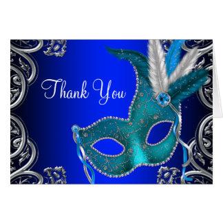 Cartão Obrigado do partido do mascarada dos azuis