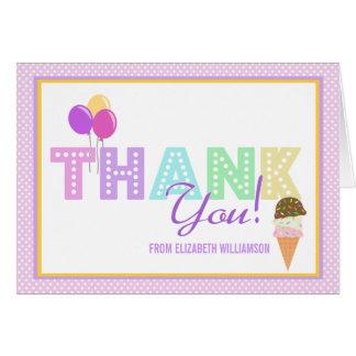 Cartão Obrigado do partido do sorvete você