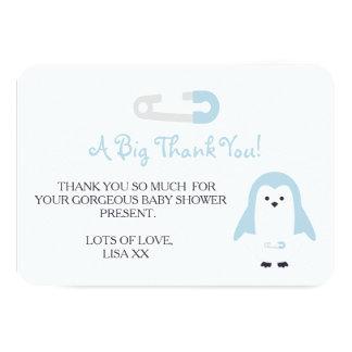 Cartão Obrigado do pinguim dos azuis bebés você
