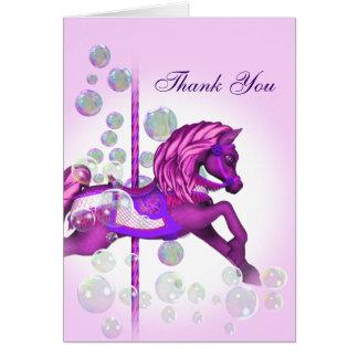 Cartão Obrigado do pônei do carrossel das bolhas do rosa