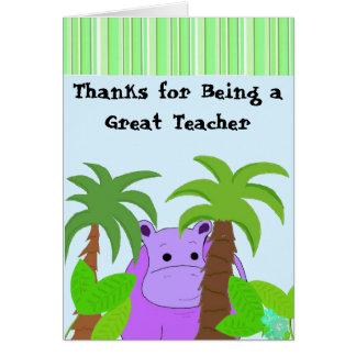 Cartão Obrigado do professor você - hipopótamo roxo