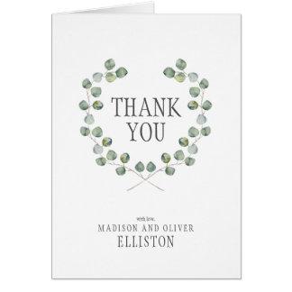 Cartão Obrigado do quadro | da folha do eucalipto da