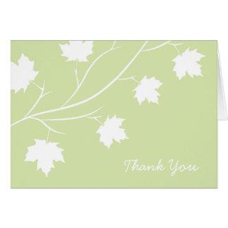 Cartão Obrigado do ramo da folha do primavera você