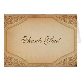 Cartão Obrigado do rolo do pergaminho do vintage você