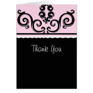 Cartão obrigado do rolo do rosa e do preto você