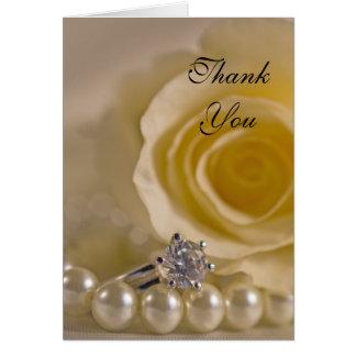 Cartão Obrigado do rosa branco, do anel e da dama de