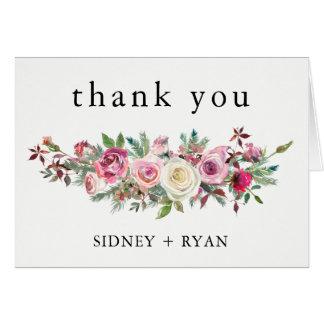 Cartão Obrigado do ROSA do ROSA você carda o casamento