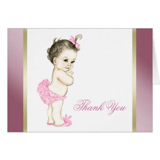 Cartão Obrigado do rosa e do bebé do ouro você