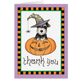 Cartão Obrigado do Schnauzer diminuto do Dia das Bruxas