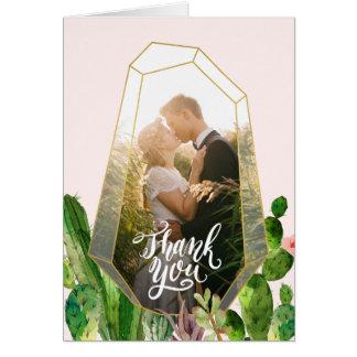 Cartão Obrigado do Succulent do deserto você nota - o
