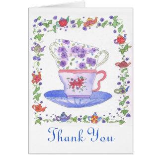 Cartão Obrigado do tempo do chá da pilha do Teacup você