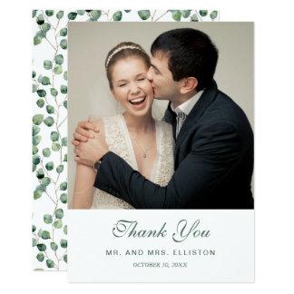 Cartão Obrigado do teste padrão | da folha do eucalipto