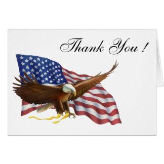 Cartão Obrigado do vazio da bandeira americana você