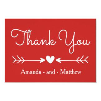Cartão Obrigado do vintage coração você & setas vermelhos