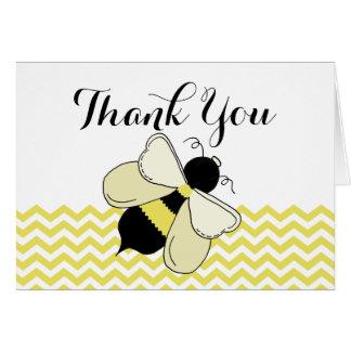 Cartão Obrigado do ziguezague do amarelo da abelha do mel