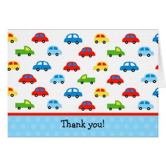 Cartão Obrigado dobrado caminhões dos carros você menino