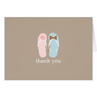 Cartão Obrigado dobrado chinelos do casamento você