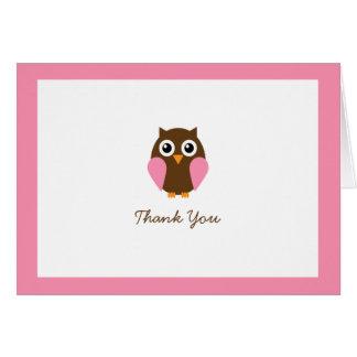 Cartão Obrigado dobrado da coruja costume cor-de-rosa
