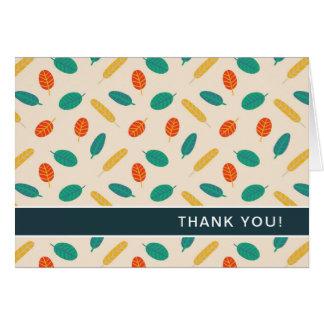 Cartão Obrigado dobrado da folha teste padrão lunático