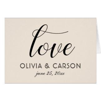 Cartão Obrigado dobrado do casamento você branco morno de